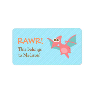 Rawr, Cute Pink Pterodactyl dinosaur For Kids Personalized Address Label