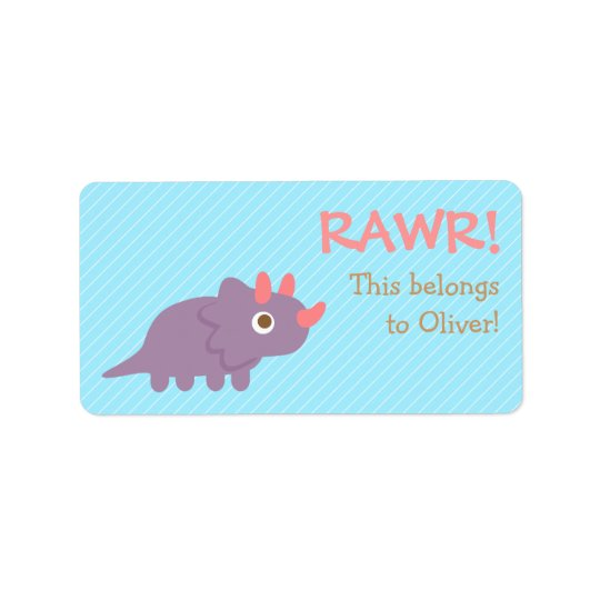 Rawr, Cute Purple Triceratops dinosaur For Kids