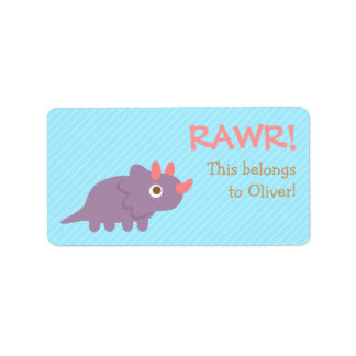 Rawr, Cute Purple Triceratops dinosaur For Kids Address Label
