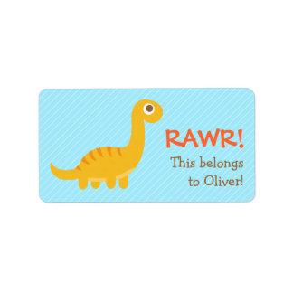 Rawr, Cute Yellow Brachiosaurus dinosaur For Kids Custom Address Labels