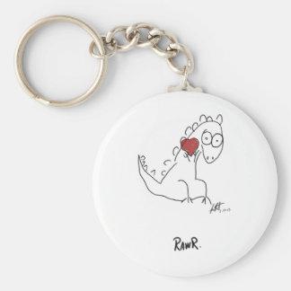 Rawr dinosaur ! basic round button keychain