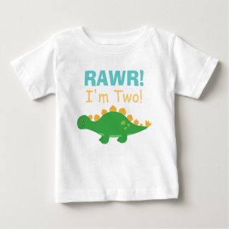 Rawr, I am Two, Cute Dinosaur for Babies Baby T-Shirt