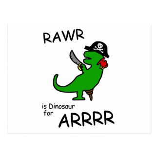 RAWR is Dinosaur for ARRR (Pirate Dinosaur) Postcard