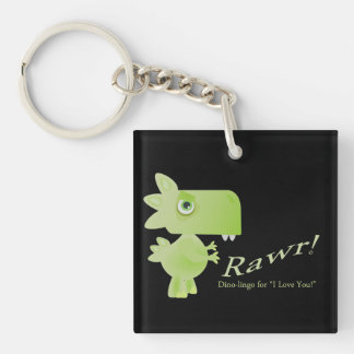 Rawr Means I Love You Dino Single-Sided Square Acrylic Keychain