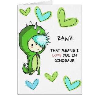 RAWR means I LOVE YOU in dinosaur card. Card