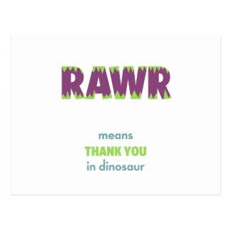 RAWR Means Thank You in Dinosaur Postcard