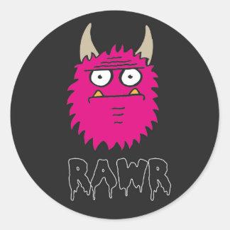 RAWR pink monster sticker Round Sticker