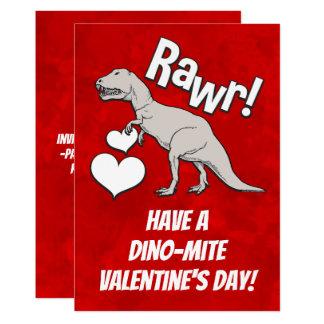Rawr Tyrannosaurus T Rex Valentine's Day Kids Boys Card