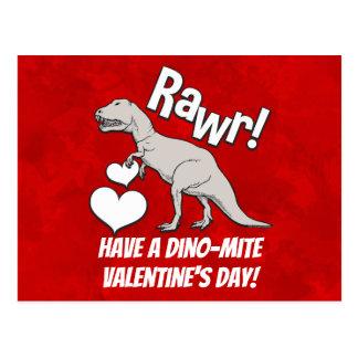 Rawr Tyrannosaurus T Rex Valentine's Day Kids Boys Postcard