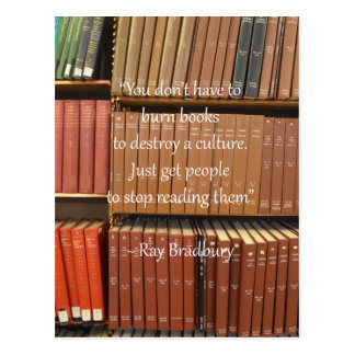 Ray Bradbury Quotation about Books Postcard