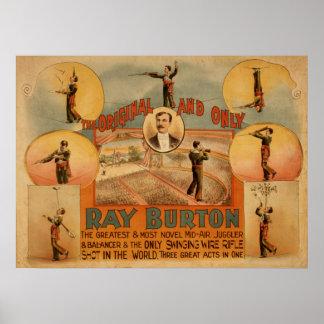 RAY BURTON High Wire Juggler VAUDEVILLE Poster