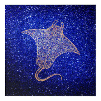 Ray Fish Ocean Sea Life Blue Navy Pink Rose Gold Acrylic Print