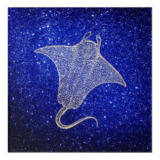 Ray Fish Ocean Sea Life Blue NavySilver Foxier Acrylic Wall Art