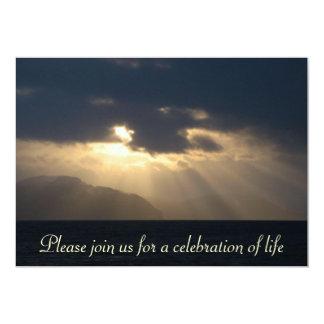 "Ray of Light Memorial Service Announcement 5"" X 7"" Invitation Card"