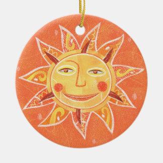 Ray Play Smiling Orange Sun Art Ceramic Ornament