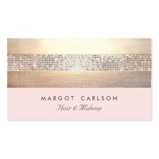 Rayé rose-clair d'or chic et élégant de paillette carte de visite standard