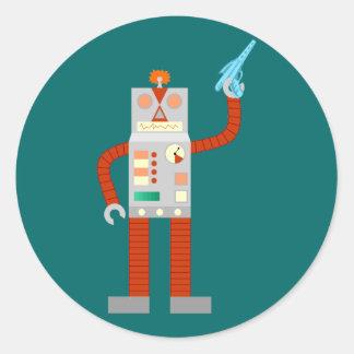 Raygun Robot Invasion Classic Round Sticker