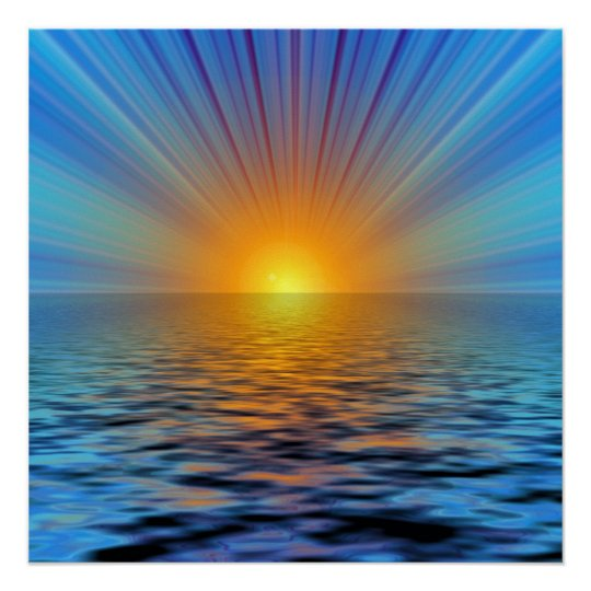 rays-687316 DIGITAL SUNRISE  OCEAN RIPPLES BACKGRO Poster
