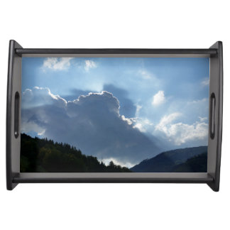 rays and clouds serving tray