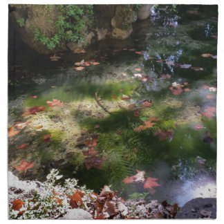 rays and leaves on water printed napkins