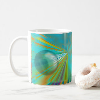 Rays on Planet Abstract Design in Turquoise Coffee Mug