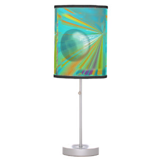 Rays on Planet Abstract Design in Turquoise Table Lamp