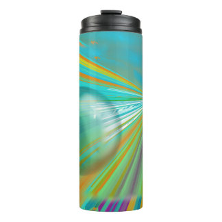 Rays on Planet Abstract Design in Turquoise Thermal Tumbler