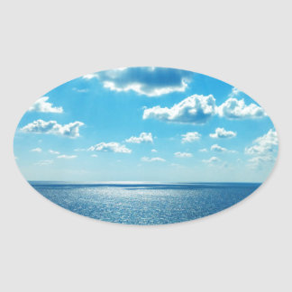 Rays over the Sea Oval Sticker