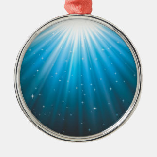 Rays Sun beam inspirational Silver-Colored Round Ornament