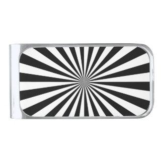 RAYS transparent (a black & white design) ~ Silver Finish Money Clip