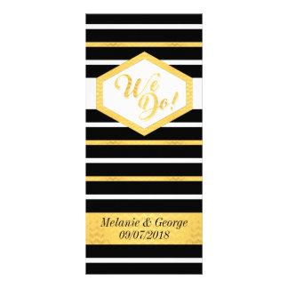 Rayure de feuille d'or de Faux de noir de menu de Cartons D'informations 10 Cm X 22,9 Cm