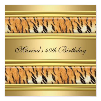 Rayure noire de tigre d'or de quarantième carton d'invitation  13,33 cm