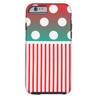 Rayure rouge de polkadot coque iPhone 6 tough