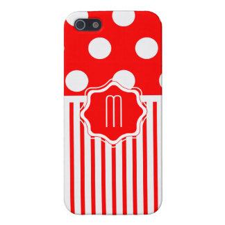 Rayure rouge de polkadot étui iPhone 5
