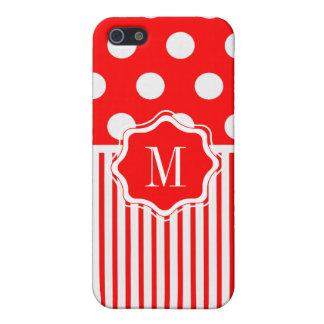 Rayure rouge de polkadot coque iPhone 5