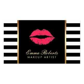 Rayures blanches noires modernes de lèvres rouges carte de visite standard