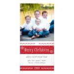 Rayures blanches rouges de Joyeux Noël Cartes Avec Photo