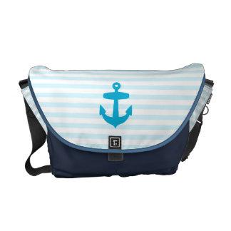 Rayures bleues d'ancre de mer et de marin de bleus sacoches