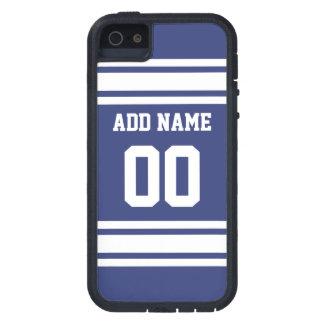 Rayures bleues et blanches avec le nom et le coques iPhone 5 Case-Mate