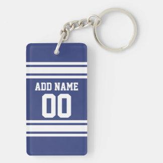 Rayures bleues et blanches avec le nom et le porte-clé rectangulaire en acrylique double face