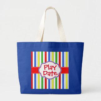 Rayures colorées mignonnes de date de jeu sac en toile jumbo