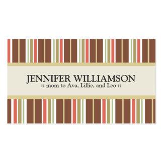 Rayures customisées à la mode de télécartes de mam cartes de visite personnelles