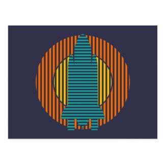 rayures de fusée du soleil cartes postales