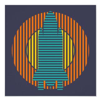 rayures de fusée du soleil carton d'invitation  13,33 cm