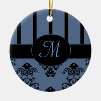 Rayures de gris bleu et de noir, le baroque de ornement rond en céramique