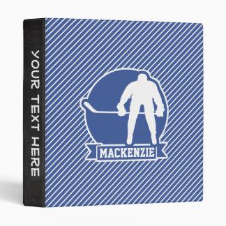 Rayures de hockey sur glace, bleues et blanches, classeur 3 anneaux