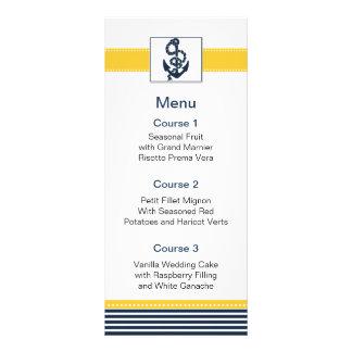 rayures de marine, ancre, cartes nautiques de menu cartes doubles customisables