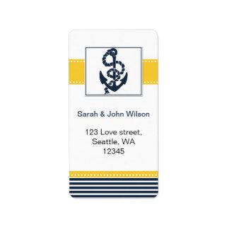 rayures de marine, ancre, étiquettes nautiques de  étiquettes d'adresse