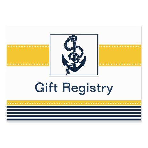rayures de marine, ancre, liste de cadeaux modèle de carte de visite