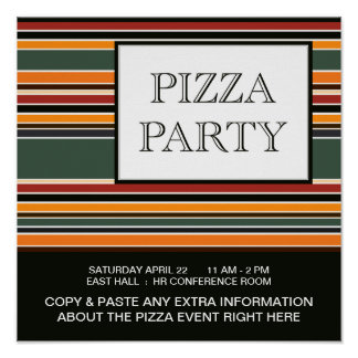 rayures de partie de pizza poster